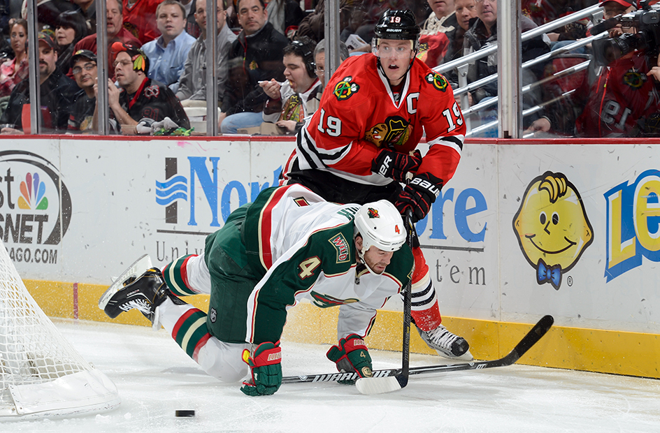 toews and falling minn player