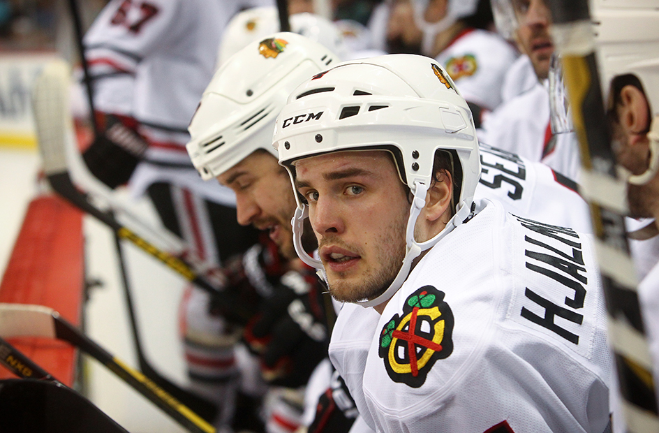 hjalmarsson looks worried on the bench