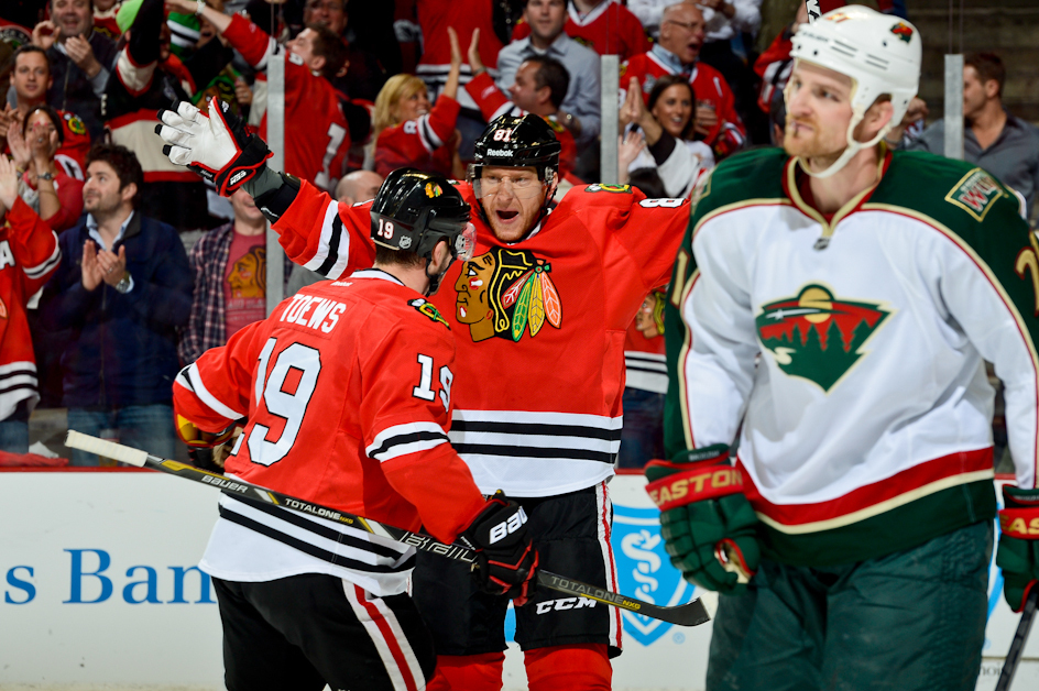 hoss and toews celebrating a goal
