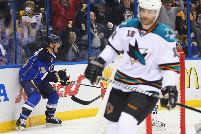 Jamie Langenbrunner #15 of the St. Louis Blues celebrates his game-tying goal against the San Jose Sharks