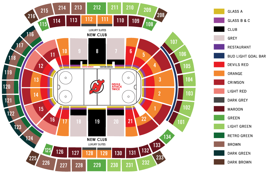 2015-16 New Jersey Devils Season Ticket Membership Seating Map