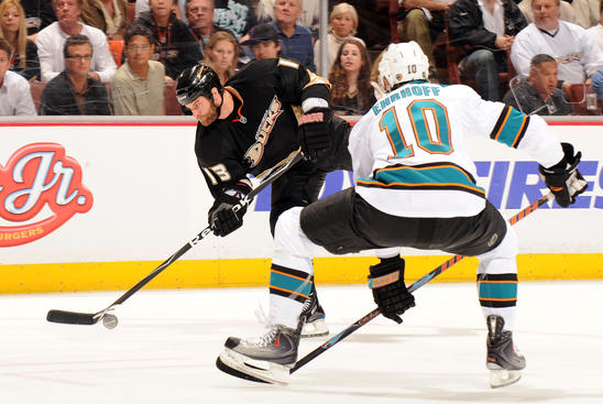 ANAHEIM, CA - APRIL 21:  Mike Brown #13 of the Anaheim Ducks tries for a shot on net against Christian Ehrhoff #10 of the San Jose Sharks during Game Three of the Western Conference Quarterfinal Round of the 2009 Stanley Cup Playoffs at Honda Center on April 21, 2009 in Anaheim, California.  (Photo by Harry How/Getty Images)