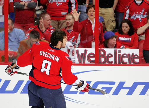 WASHINGTON - APRIL 24:  Fans of the Washington Capitals cheer on Alex Ovechkin #8 of the Washington Capitals as he faces elimination to the New York Rangers during Game Five of the Eastern Conference Quarterfinal Round of the 2009 Stanley Cup Playoffs on April 24, 2009 at the Verizon Center in Washington, DC.  (Photo by Len Redkoles/Getty Images)
