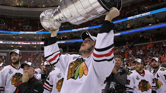Jonathan Toews hoists the Stanley Cup after the Chicago Blackhawks defeated the Philadelphia Flyers 4-3 in overtime to win the Stanley Cup in Game 6 of the 2010 NHL Stanley Cup Final.