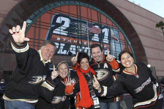 ANAHEIM, CA - APRIL 13: Fans show their support for the Anaheim Ducks before Game One of the Western Conference Quarterfinals against the Nashville Predators during the 2011 NHL Stanley Cup Playoffs at Honda Center on April 13, 2011 in Anaheim, California. (Photo by Debora Robinson/NHLI via Getty Images)