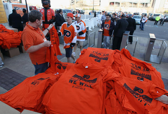 PHILADELPHIA, PA - APRIL 14: Fans arrive for the game between the Philadelphia Flyers and the Buffalo Sabres in Game One of the Eastern Conference Quarterfinals during the 2011 NHL Stanley Cup Playoffs at Wells Fargo Center on April 14, 2011 in Philadelphia, Pennsylvania. (Photo by Bruce Bennett/Getty Images)