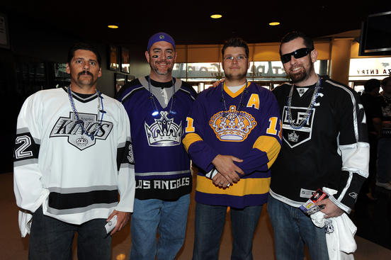 LOS ANGELES, CA - APRIL 19: Kings fans pose for a photo prior to the game between the Los Angeles Kings and the San Jose Sharks in Game Three of the Western Conference Quarterfinals during the 2011 NHL Stanley Cup Playoffs at Staples Center on April 19, 2011 in Los Angeles, California. (Photo by Andrew D. Bernstein/NHLI via Getty Images)