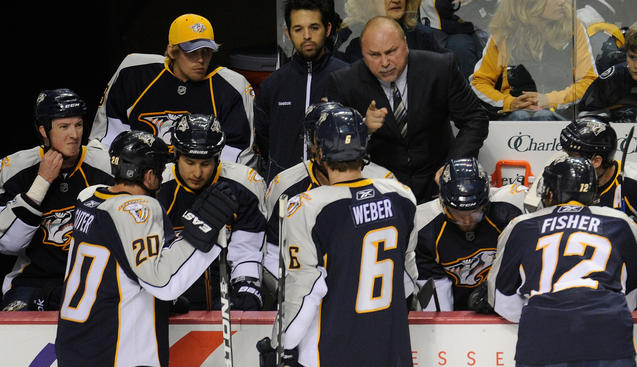 NASHVILLE, TN - APRIL 20: Coach Barry Trotz of the Nashville Predators calls timeout after two quick goals by the Anaheim Ducks in Game Four of the Western Conference Quarterfinals during the 2011 NHL Stanley Cup Playoffs at Bridgestone Arena on April 20, 2011 in Nashville, Tennessee. (Photo by John Russell/NHLI via Getty Images)