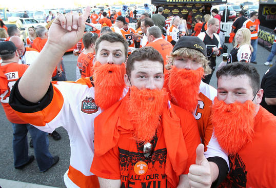 PHILADELPHIA , PA - APRIL 26: Fans of the Philadelphia Flyers show off their playoff beards in support of their team before the game against the Buffalo Sabres in Game Seven of the Eastern Conference Quarterfinals during the 2011 NHL Stanley Cup Playoffs at the Wells Fargo Center on April 26, 2011 in Philadelphia, Pennsylvania. (Photo by Len Redkoles/NHLI via Getty Images)