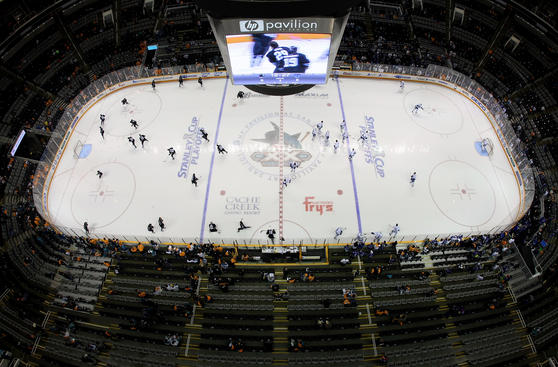 SAN JOSE, CA - MAY 20: A general view of warm-up prior to Game Three of the Western Conference Finals between the Vancouver Canucks and the San Jose Sharks during the 2011 Stanley Cup Playoffs at HP Pavilion on May 20, 2011 in San Jose, California. (Photo by Victor Decolongon/Getty Images)