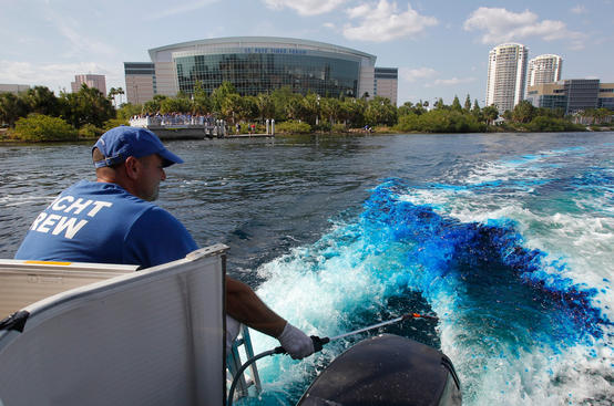 TAMPA, FL - MAY 25: The Tampa Bay Lightning dye Garrison Channel outside of the St. Pete Forum Wednesday lightning blue before the start of Game Six of the Eastern Conference Finals during the 2011 NHL Stanley Cup Playoffs on May 25, 2011 in Tampa, Florida. (Photo by Scott Audette/NHLI via Getty Images)