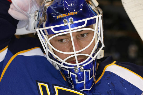 ST. LOUIS, MO - APRIL 14: Brian Elliott #1 of the St. Louis Blues warms up before Game Two of the Western Conference Quarterfinals against the San Jose Sharks during the 2012 NHL Stanley Cup Playoffs at Scottrade Center on April 14, 2012 in St. Louis, Missouri. (Photo by Mark Buckner/NHLI via Getty Images)