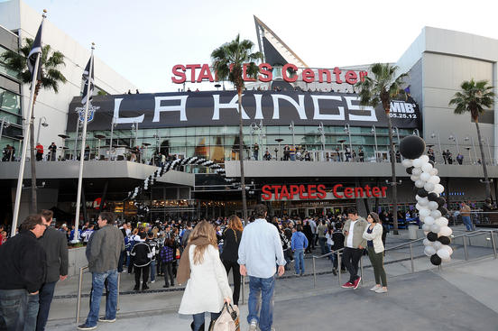 LOS ANGELES, CA - APRIL 15:  A general view of Staples Center prior to the game between the Los Angeles Kings and the Vancouver Canucks in Game Three of the Western Conference Quarterfinals during the 2012 NHL Stanley Cup Playoffs at Staples Center on April 15, 2012 in Los Angeles, California. (Photo by Andrew D. Bernstein/NHLI via Getty Images)
