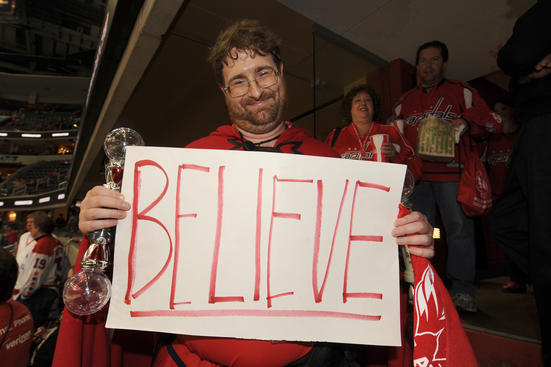 WASHINGTON, DC - APRIL 16:  A Washington Capitals fan holds up his sign before Game Three of the Eastern Conference Quarterfinals of the 2012 NHL Stanley Cup Playoffs against the Boston Bruins on April 16, 2012 at the Verizon Center in Washington, DC.  (Photo by Mitchell Layton/NHLI via Getty Images)