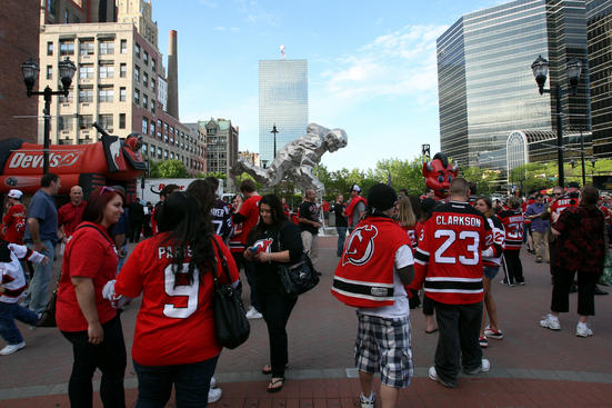 NEWARK, NJ - APRIL 17:  Fans gather outside hte arena prior to the New Jersey Devils host the Florida Panthers in Game Three of the Eastern Conference Quarterfinals during the 2012 NHL Stanley Cup Playoffs at Prudential Center on April 17, 2012 in Newark, New Jersey.  (Photo by Bruce Bennett/Getty Images)