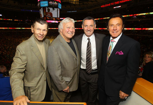 CHICAGO, IL - APRIL 19:  Chicago Blackhawks Legends Stan Mikita, Bobby Hull, Denis Savard, and Tony Esposito pose for a photo during Game Four of the Western Conference Quarterfinals between the Phoenix Coyotes and the Chicago Blackhawks during the 2012 NHL Stanley Cup Playoffs at the United Center on April 19, 2012 in Chicago, Illinois. (Photo by Bill Smith/NHLI via Getty Images)