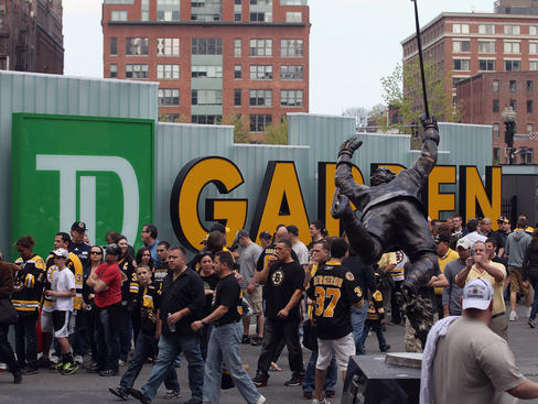 BOSTON, MA - APRIL 21:  Fans arrive for the game between the Boston Bruins and the Washington Capitals in Game Five of the Eastern Conference Quarterfinals during the 2012 NHL Stanley Cup Playoffs at TD Garden on April 21, 2012 in Boston, Massachusetts.  (Photo by Bruce Bennett/Getty Images)