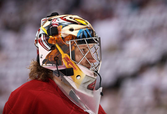 GLENDALE, AZ - APRIL 21:  Goaltender Mike Smith #41 of the Phoenix Coyotes warms up before Game Five of the Western Conference Quarterfinals against the Chicago Blackhawks during the 2012 NHL Stanley Cup Playoffs at Jobing.com Arena on April 21, 2012 in Glendale, Arizona.  (Photo by Christian Petersen/Getty Images)