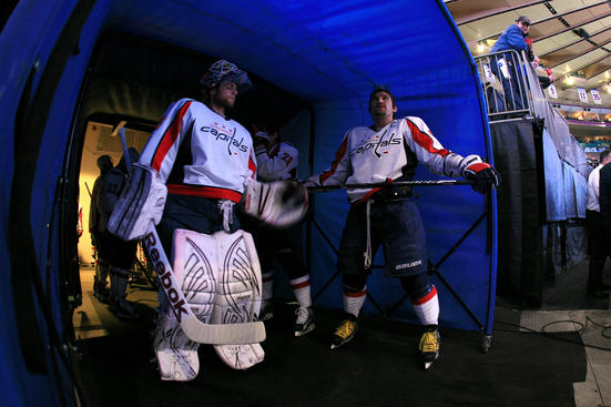 NEW YORK, NY - APRIL 30:  (L-R) Goalie Braden Holtby #70 and Alex Ovechkin #8 of the Washington Capitals look on from the tunnel prior to taking the ice to play against the New York Rangers in Game Two of the Eastern Conference Semifinals during the 2012 NHL Stanley Cup Playoffs at Madison Square Garden on April 30, 2012 in New York City.  (Photo by Bruce Bennett/Getty Images)