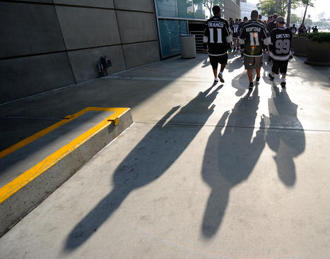 LOS ANGELES, CA - MAY 17:  Los Angeles Kings fans walk outside Staples Center before Game Three of the Western Conference Final during the 2012 NHL Stanley Cup Playoffs between the Kings and the Phoenix Coyotes at Staples Center on May 17, 2012 in Los Angeles, California.  (Photo by Harry How/Getty Images)