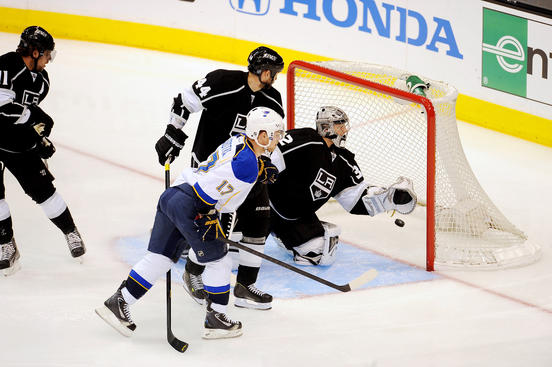 LOS ANGELES, CA - MAY 6: Jonathan Quick #32 of the Los Angeles Kings attempts a save against Vladamir Sobotka #17 of the St. Louis Blues in Game Four of the Western Conference Quarterfinals during the 2013 NHL Stanley Cup Playoffs at Staples Center on May 6, 2013 in Los Angeles, California. (Photo by Aaron Poole/NHLI via Getty Images)