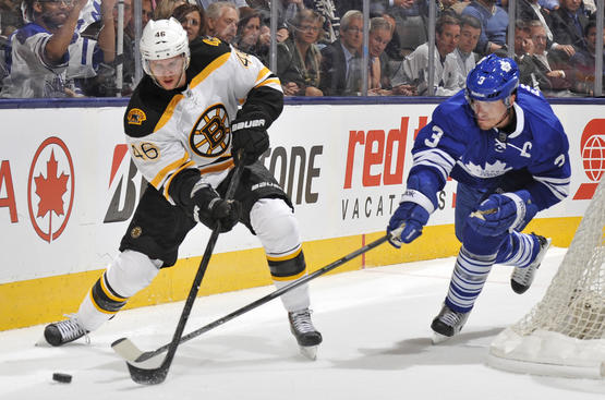 TORONTO, CANADA - MAY 8:  Dion Phaneuf #3 of the Toronto Maple Leafs battles for the puck with David Krejci #46 of the Boston Bruins in Game Four of the Eastern Conference Quarterfinals during the 2013 NHL Stanley Cup Playoffs May 8, 2013 at the Air Canada Centre in Toronto, Ontario, Canada. (Photo by Graig Abel/NHLI via Getty Images)