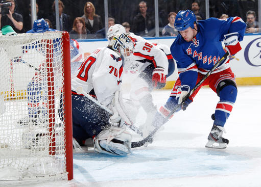 NEW YORK, NY - MAY 12: Derek Dorsett #15 of the New York Rangers attempts to jam the puck into the net against Braden Holtby #70 of the Washington Capitals in Game Six of the Eastern Conference Quarterfinals during the 2013 NHL Stanley Cup Playoffs at Madison Square Garden on May 12, 2013 in New York City. (Photo by Scott Levy/NHLI via Getty Images)