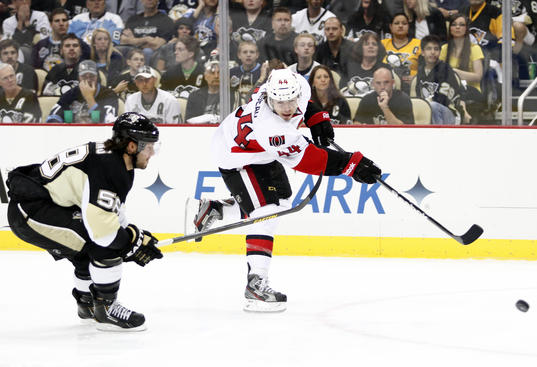 PITTSBURGH, PA - MAY 17:  Jean-Gabriel Pageau #44 of the Ottawa Senators shoots the puck in the first period against the Pittsburgh Penguins in Game Two of the Eastern Conference Semifinals during the 2013 NHL Stanley Cup Playoffs at Consol Energy Center on May 17, 2013 in Pittsburgh, Pennsylvania.  (Photo by Justin K. Aller/Getty Images)
