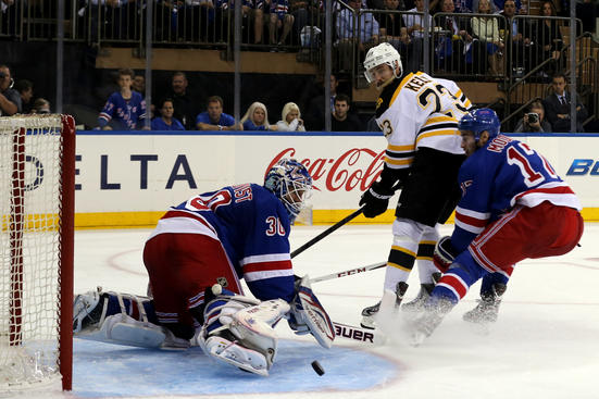NEW YORK, NY - MAY 21:  Henrik Lundqvist #30 of the New York Rangers makes a save against the Boston Bruins in Game Three of the Eastern Conference Semifinals during the 2013 NHL Stanley Cup Playoffs at Madison Square Garden on May 21, 2013 in New York City.  (Photo by Bruce Bennett/Getty Images)