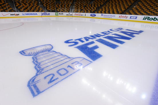 BOSTON, MA - JUNE 17 : Stanley Cup Final logo on the ice before the game of the Boston Bruins against the Chicago Blackhawks in Game Three of the Stanley Cup Final at TD Garden on June 17, 2013 in Boston, Massachusetts. (Photo by Brian Babineau/NHLI via Getty Images)