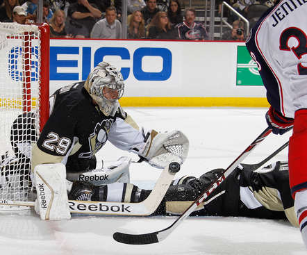PITTSBURGH, PA - APRIL 26:  Marc-Andre Fleury #29 of the Pittsburgh Penguins makes a save during the first period against the Columbus Blue Jackets in Game Five of the First Round of the 2014 Stanley Cup Playoffs at Consol Energy Center on April 26, 2014 in Pittsburgh, Pennsylvania.  (Photo by Gregory Shamus/NHLI via Getty Images)