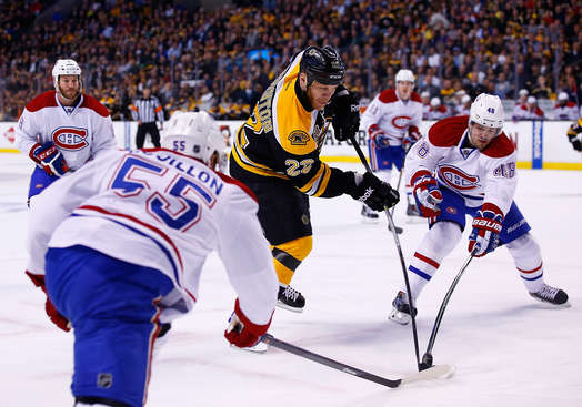 BOSTON, MA - MAY 01: Shawn Thornton #22 of the Boston Bruins has his shot blocked by Daniel Briere #48 of the Montreal Canadiens in the first period in Game One of the Second Round of the 2014 NHL Stanley Cup Playoffs on May 1, 2014 in Boston, Massachusetts.  (Photo by Jared Wickerham/Getty Images)