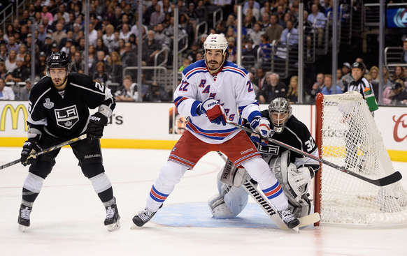 LOS ANGELES, CA - JUNE 07:  Brian Boyle #22 of the New York Rangers looks for the puck at the net against Jonathan Quick #32 of the Los Angeles Kings in the first period during Game Two of the 2014 NHL Stanley Cup Final at the Staples Center on June 7, 2014 in Los Angeles, California.  (Photo by Harry How/Getty Images)