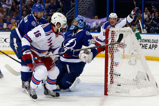 TAMPA, FL - MAY 26:  Derick Brassard #16 of the New York Rangers scores a goal against Ben Bishop #30 of the Tampa Bay Lightning during the first period in Game Six of the Eastern Conference Finals during the 2015 NHL Stanley Cup Playoffs at Amalie Arena on May 26, 2015 in Tampa, Florida.  (Photo by Mike Carlson/Getty Images)