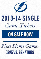 Tampa Bay Lightning Single Game Tickets Now On Sale for the 2013-14 Season. Next home game - November 29, 2013 vs