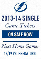 Tampa Bay Lightning Single Game Tickets Now On Sale for the 2013-14 Season. Next home game -