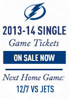 Tampa Bay Lightning Single Game Tickets Now On Sale for the 2013-14 Season. Next home game - November 29, 2013 vs. Pittsburgh P