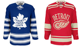 The jerseys the Maple Leafs and Red Wings will wear at the 2014 Bridgestone NHL Winter Classic