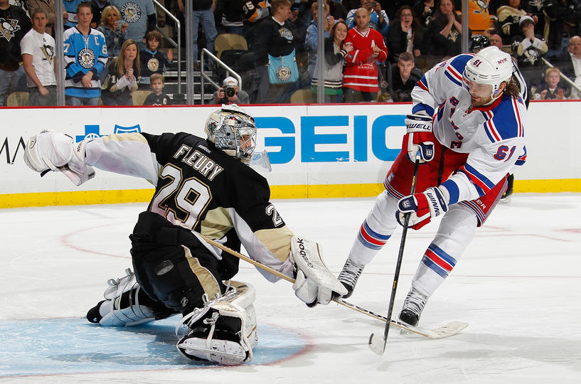 Fleury Leads Pens Past Rangers