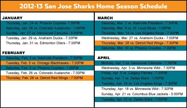 2012-13 San Jose Sharks Home Schedule